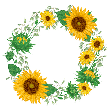 ひまわり、オーツ麦と花輪。素朴な花の背景。ビンテージ ベクトル植物水彩風イラスト。