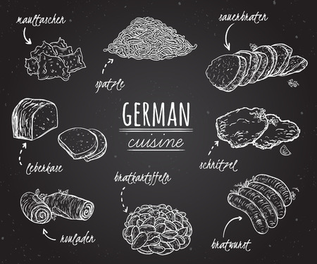 German cuisine. Collection of delicious food in line art style on chalkboard. Concept design for decoration restaurants, menu. Vintage hand drawn vector illustration