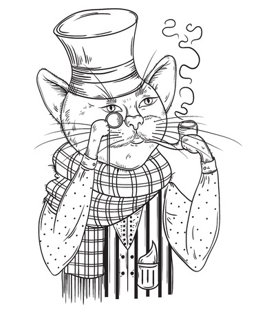 englishman: Cat gentleman in bowler hat, scarf with pipe and monocle. Anthropomorphic character. Vintage hand drawn vector illustration