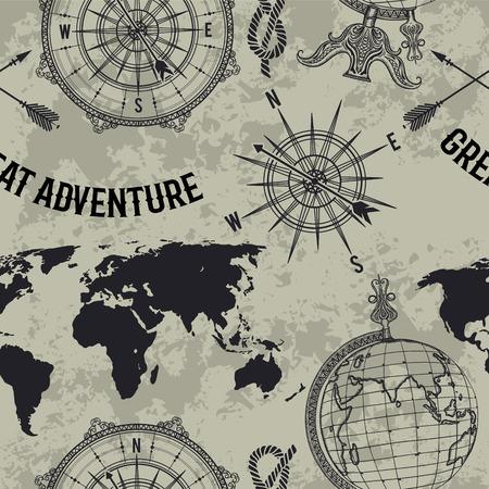 """Seamless pattern con il globo d'epoca, bussola, mappa del mondo e rosa dei venti. Retro mano illustrazione vettoriale disegnato """"grande avventura"""" in stile schizzo su sfondo grunge Archivio Fotografico - 70757164"""