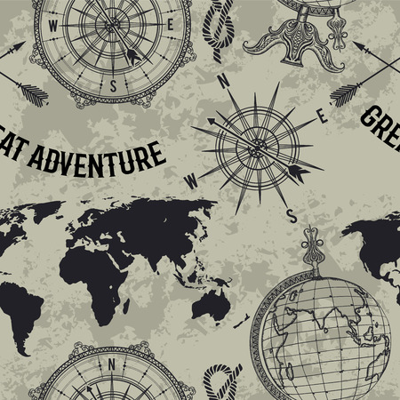 "Seamless pattern with vintage globe, compass, world map and wind rose. Retro hand drawn vector illustration ""Great adventure"" in sketch style on grunge background"