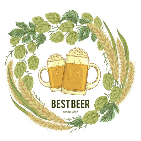 cereal bar: Wreath with hops, wheat and glasses of beer. Floral composition with cones, leaves and branches. Isolated elements. Vintage hand drawn illustration in watercolor style.