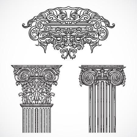 Vintage architectural details design elements. Antique baroque classic style column and cartouche. Hand drawn vector illustration