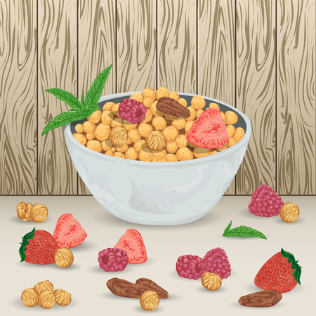 brazil nut: Cereal balls in bowl with raspberry, strawberry, hazelnut, brazil nut and mint leaves on wooden  Healthy breakfast. Isolated elements. Hand drawn illustration Illustration