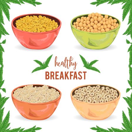 Collection de bouillie de céréales, céréales, flocons et anneaux dans un bol avec des feuilles de menthe sur fond blanc. Petit-déjeuner sain. éléments isolés. dessiné à la main illustration vectorielle Vecteurs