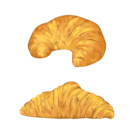 Croissants in watercolor style. Isolated elements. Hand drawn vector illustration. Ilustração