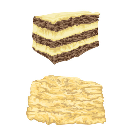 Napoleon cake and mille feuille pastry in watercolor style. Isolated elements. Hand drawn vector illustration.
