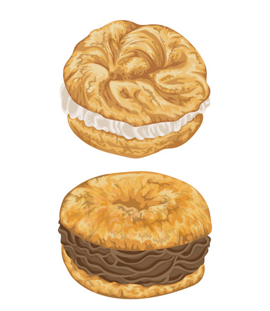 Paris brest cakes with praline and chocolate cream. French pastries in watercolor style. Isolated elements. Hand drawn illustration. Ilustração