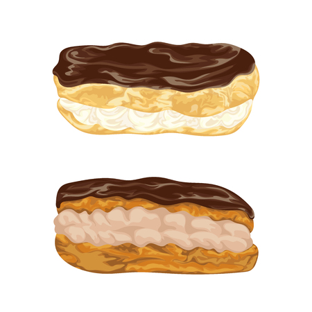 eclair: Set of eclairs with praline in chocolate glaze. French pastries in watercolor style. Isolated elements. Hand drawn illustration.