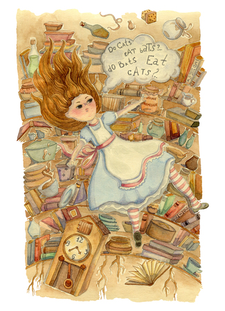 Alice in Wonderland. Alice is falling down into the rabbit hole. Vintage hand drawn watercolor illustration