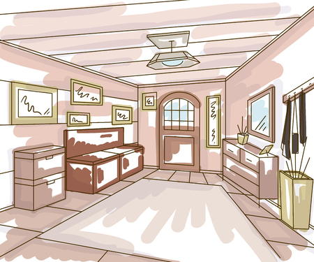 Entrance hallway interior with storage furniture, pictures and bench in watercolor style. Vintage hand drawn vector illustration in sketch style Illustration