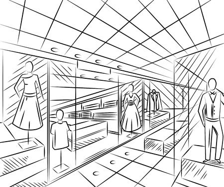 패션 매장과 쇼핑 센터. 스케치 스타일의 인테리어 디자인. 빈티지 손으로 그린 벡터 일러스트 레이 션 일러스트