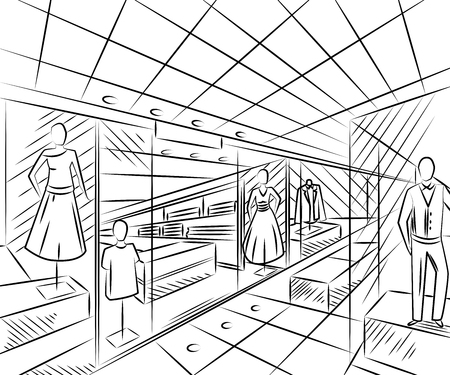 Shopping center with fashion stores. Interior design in sketch style. Vintage hand drawn vector illustration