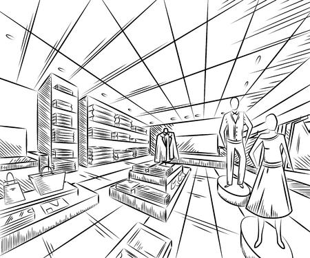 Fashion store interior design in sketch style. Ilustración de vector dibujado a mano vintage