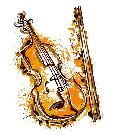水彩風のバイオリン。ヴィンテージ手描きのベクトル図  イラスト・ベクター素材