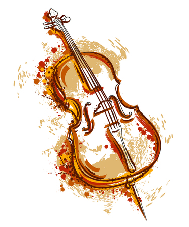 Cello in watercolor style. Vintage hand drawn vector illustration