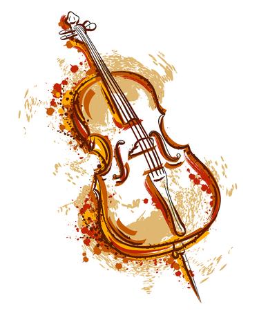 Violoncelo en estilo de la acuarela. Vintage mano dibujado ilustración vectorial Foto de archivo - 72755924
