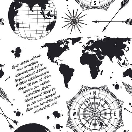 Patroon met vintage globe, kompas, wereldkaart en windroos. Retro hand getrokken vectorillustratie in schets stijl