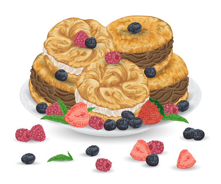 Paris brest cakes with praline and chocolate cream on plate with berries. French pastries with strawberry, raspberry, blueberry and mint leaves. Isolated elements. Hand drawn vector illustration. Ilustração
