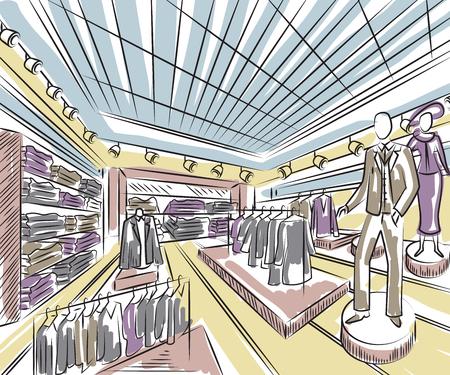 Modewinkel interieur in schets stijl. Vintage hand getekende vector illustratie