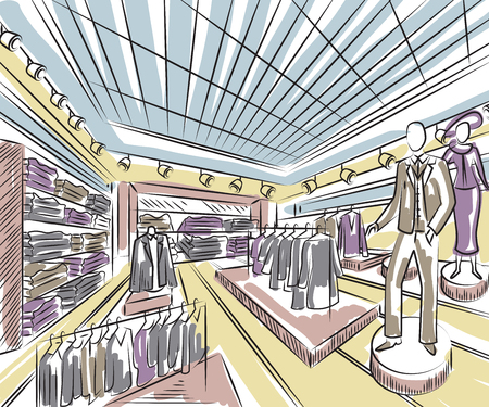Fashion store interior design in sketch style. Vintage hand drawn vector illustration