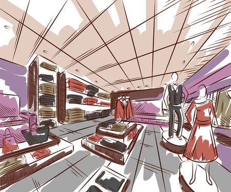 furniture store: Fashion store interior design in sketch style. Vintage hand drawn vector illustration