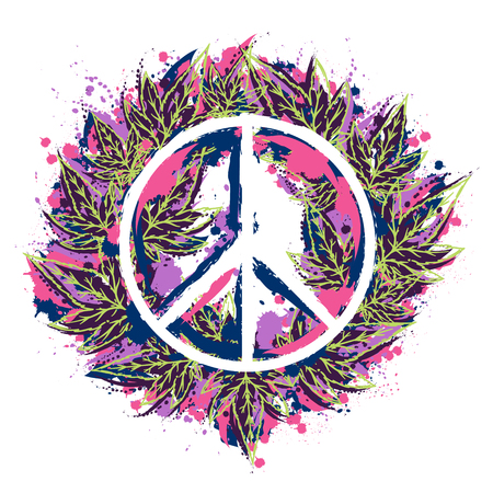Hippie peace symbol with cannabis leaves in watercolor style. Hippie theme. Design concept for banner, card, t-shirt, sticker, print, poster. Vector illustration Illustration
