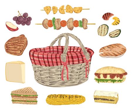 Sammlung von Picknick-Essen. Grillfleisch, Fisch, Gemüse, Sandwiches, Käse, Mais, Kebab, Obst und Korb. Isolierte Elemente. Design-Konzept für ein Picknick oder eine Grillparty. Vektor-Illustration