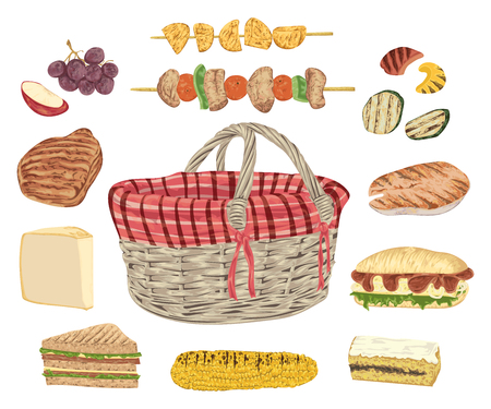 Collection of picnic food. Grill meat, fish, vegetables, sandwiches, cheese, corn, kebab, fruits and basket. Isolated elements. Design concept for picnic or barbecue party. Vector illustration Illustration