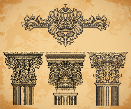 roman column: Vintage architectural details design elements on aged paper background. Antique baroque classic style column and cartouche. Hand drawn vector illustration Illustration