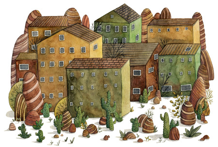 western town: Desert landscape with houses, cactuses, stones and mountains. Hand drawn watercolor illustration in cartoon style
