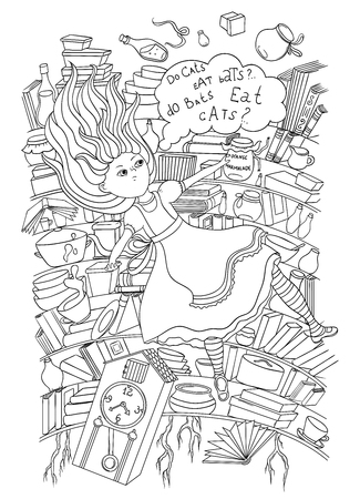 Alice Está Cayendo En El Agujero De Conejo Ilustraciones Vectoriales ...