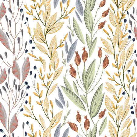 Seamless pattern with marine plants, leaves and seaweed. Hand drawn marine flora in watercolor style. Illustration