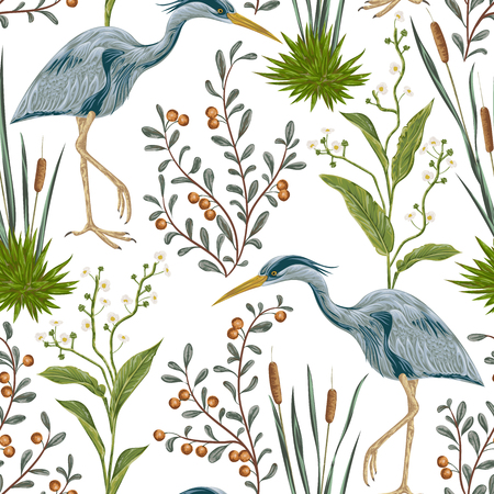 cattail: Seamless pattern with heron bird and swamp plants. Vintage hand drawn vector illustration in watercolor style