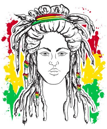 Portrait of rastaman. Jamaica theme. Reggae concept design. Tattoo art. Hand drawn grunge style art. Retro banner, card, t-shirt, print, poster. Vintage colorful hand drawn vector illustration