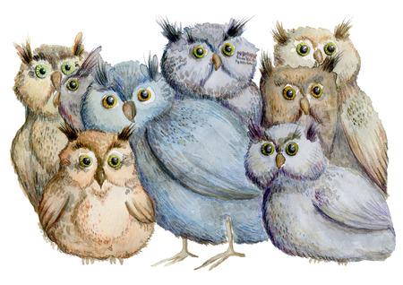 Owls. Hand drawn watercolor illustration 写真素材