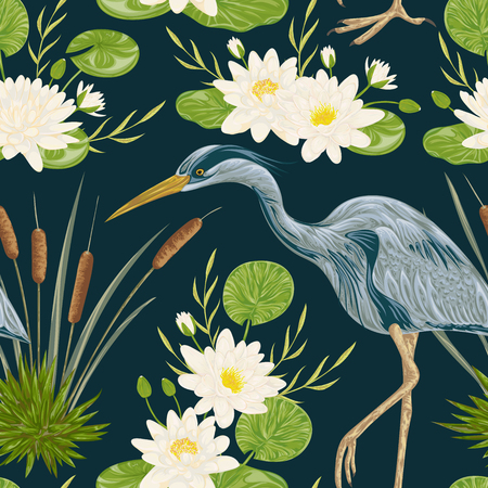 marsh: Seamless pattern with heron bird, water lily and bulrush. Swamp flora and fauna. Vintage hand drawn vector illustration in watercolor style Illustration