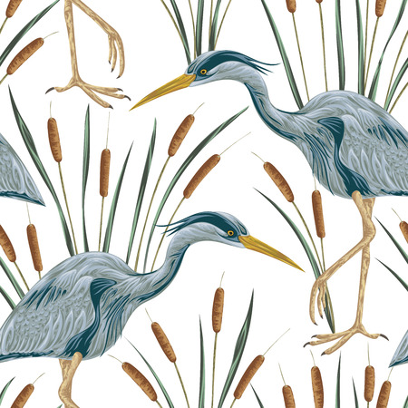 Seamless pattern with heron bird and bulrush. Swamp flora and fauna. Vintage hand drawn vector illustration in watercolor style Vectores
