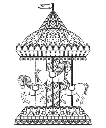 Vintage carrousel. Hand getrokken vector illustratie Stock Illustratie