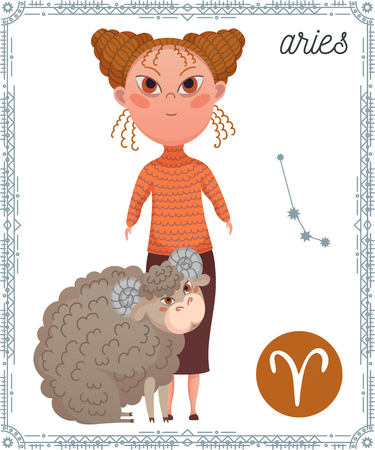 Zodiac sign Aries. Funny cartoon character. Vector illustration Illustration