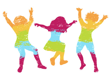 Children jumping. Colorful grunge silhouettes. Vector illustration Çizim