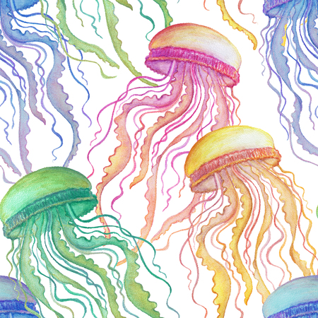 Seamless pattern with watercolor jellyfish on white background. Hand drawn illustration Banco de Imagens