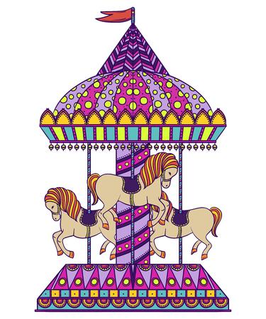 Vintage carousel. Colorful hand drawn vector illustration Ilustrace