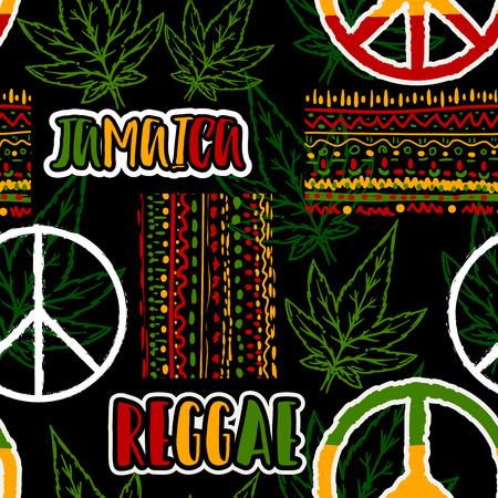 Naadloos patroon met het symbool van de hippievrede, cannabisbladeren en etnisch ornament. Jamaica thema. Reggae conceptontwerp. Vector illustratie
