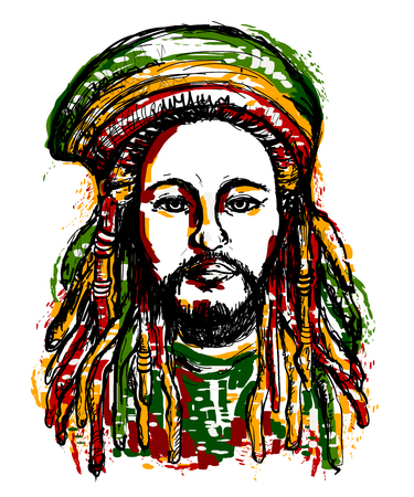 jamaican adult: Portrait of rastaman. Jamaica theme. Reggae concept design. Tattoo art. Hand drawn grunge style art. Retro banner, card, t-shirt, bag, print, poster.Vintage colorful hand drawn vector illustration