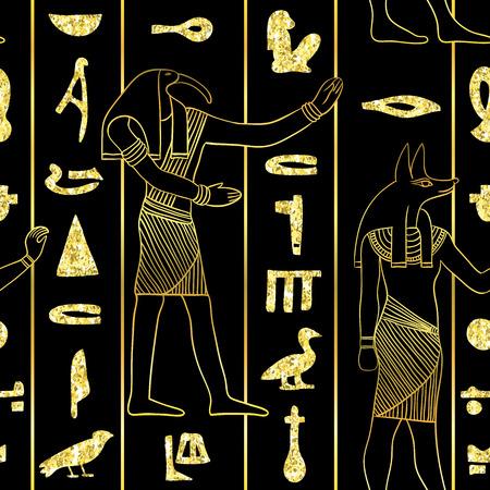 Het naadloze patroon met Egyptische goden en oude Egyptische hiërogliefen met gouden schittert folietextuur op zwarte achtergrond. Vintage hand getrokken vectorillustratie