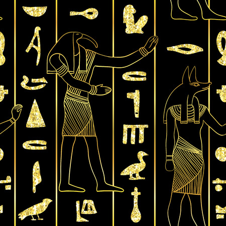 Seamless pattern with egyptian gods and ancient egyptian hieroglyphs with golden glitter foil texture on black background. Vintage hand drawn vector illustration