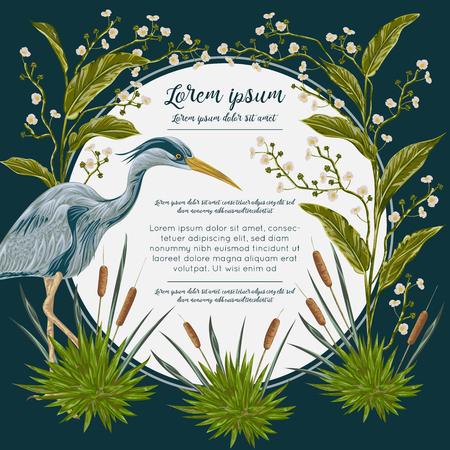 헤론 조류와 늪 식물. 습지 동식물. 배너, 포스터, 카드, 초대장 및 스크랩북 디자인. 수채화 스타일로 식물 벡터 일러스트 레이션