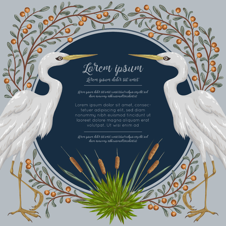 cattail: Heron bird and and swamp plants. Marsh flora and fauna. Design for banner, poster, card, invitation and scrapbook. Botanical vector illustration in watercolor style