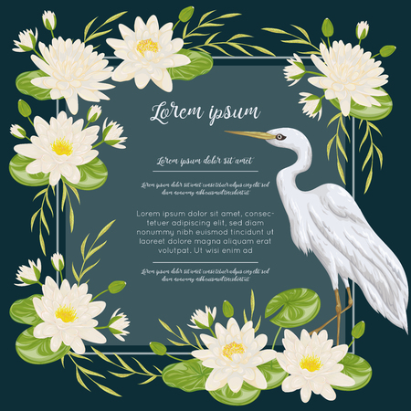 Heron bird and water lily. Swamp flora and fauna. Design for banner, poster, card, invitation and scrapbook. Botanical vector illustration in watercolor style Illustration